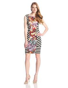 Nicole Miller Women's Flower Stripe Lycra Jersey Dress - http://dressfitme.com/fashion/nicole-miller-womens-flower-stripe-lycra-jersey-dress/