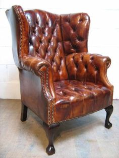 superb georgian style tan leather hide full button down chesterfield wing chair - photo angle #4