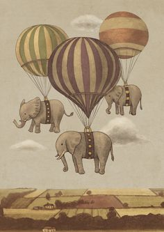 """Flight of the Elephants"" Art Print by Terry Fan on Society6."