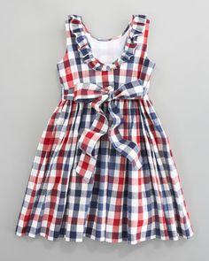 Oscar de la Renta Check Party Dress (back view) - Bergdorf Goodman