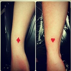 Me and my friend got a friend tattoo together. Heart and diamond. Best friend forever