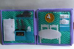 Handmade quiet book Dollhouse, busy book for girl, kutchen, Развивающая книжка Кукольный домик, кухня