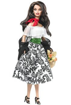 Ciao, Bella! Barbie doll captures her Italian essence in every detail. From her olive complexion and mane of dark hair to her fashionable patterned skirt, green sash belt, and lacy white top. Black shawl, basket of flowers, and red scarf tied at the neck complete the look.