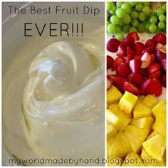 Mix 1 cup powdered sugar, 1 8 oz. brick of cream cheese and 1 7 oz. jar of Marshmallow Creme together.  Mix it good!  {I was totally singing Whip it Good just now...}  Place your lovely deliciousness in the fridge for about 15 minutes and serve it up...with fresh fruit of course. by juliette