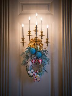 The East Room, Decorated Sconce 2014 White House