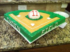 Baseball theme birthday cake