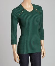 Look at this Evergreen Studded Knit Sweater on #zulily today!