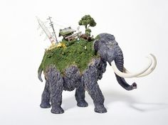 Maico Akiba, animals, migration, tiny sculptures, Animals, Art, green art, sustainable art, sekai, eco art