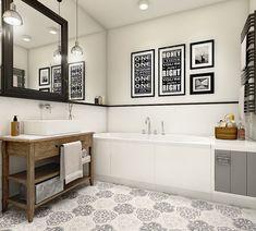 Jasna i przestronna łazienka zawiera w sobie wiele interesujących dodatków. Na pierwszy rzut oka uwagę zwraca...