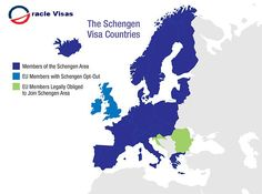 Map of the Schengen Area of Europe: Visitors can travel freely through the Schengen countries without multiple stops through customs and border patrol thanks to the Schengen Agreement. Schengen Area, Birmingham Uk, New Tricks, Britain, Dubai, Investing, Romance, Europe