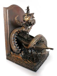 Sea Monster Sculpture Bookends - The Kraken Bookend is Perfect for Fans of Captain Jack Sparrow (GALLERY)