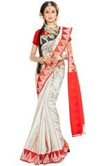 Off White and Hot Red Banarasi Silk Saree  https://www.ethanica.com/products/off-white-and-hot-red-banarasi-silk-saree