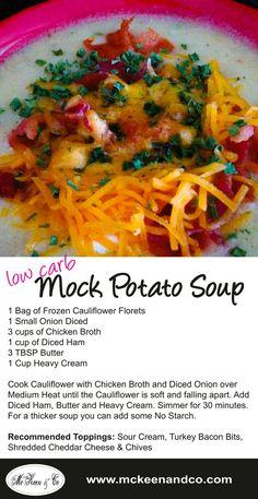 mock potato low carb soup with frozen cauliflower