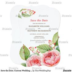 Romantic Watercolor Flower Painting Design Personalized Save the Date Custom Wedding Announcements. Customize the names, date, text and all details of your Wedding Announcements. Matching Wedding Invitations, Bridal Shower Invitations, Wedding Postage Stamps, Bridesmaid to be Request Cards, Thank You Cards and other Wedding Stationery and Wedding Favors and Gifts available in the Floral Design Category of the yourweddingday store at zazzle.com