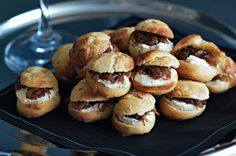 an hors d oeuvre gougeres with arugula bacon and pickled onions recipe ...