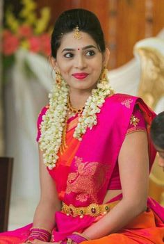 Very interesting colour combination! Dark pink and orange Sari - Very interesting colour combination! Dark pink and orange Sari - South Indian Wedding Saree, Saree Wedding, Wedding Bride, Wedding Ideas, South Indian Weddings, Punjabi Wedding, Wedding Couples, Boho Wedding, Wedding Reception
