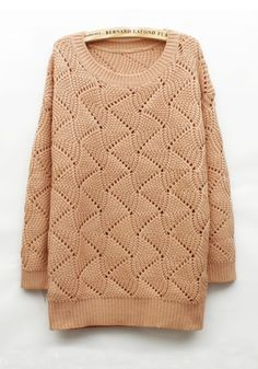 Fleshcolor Geometric Round Neck Loose Cotton Blend Sweater