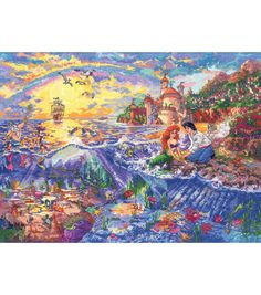 Little Mermaid - Counted Cross Stitch Kit. Designer: Thomas Kinkade Disney Dreams Collection, Price: We sell cross stitch supplies online. Disney Cross Stitch Kits, Counted Cross Stitch Kits, Cross Stitch Embroidery, Cross Stitching, Mermaid Disney, Ariel The Little Mermaid, Cross Stitch Designs, Cross Stitch Patterns, Stitching Patterns