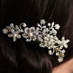 Wedding Hair Comb Swarovski Rhinestone Flower Hair by LuluSplendor, $87.00