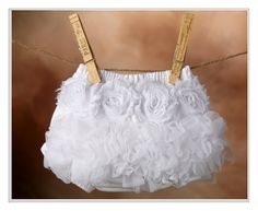 White Ruffle and Flower Diaper Cover - Ruffle Bum, Ruffle Bloomer, TuTu Blooomer, Ruffle Butt. $27.50, via Etsy.