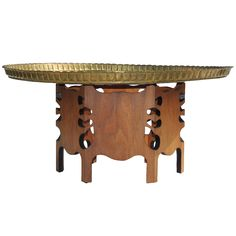 Moorish Folding Handcarved Brass Table Downstairs Room