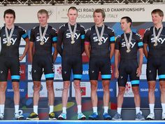 TTT WORLDS GALLERY Geraint Thomas, Kanstantsin Siutsou, Chris Froome, Edvald Boasson Hagen, Richie Porte and Kiryienka with their medals