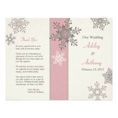 All the text is customizable on this pink, ivory and taupe snowflakes foldable winter wedding program. You fold the program when you receive them. Very affordable. #weddings #winterweddings #weddingprograms