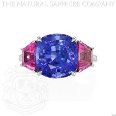 Outstanding Platinum, Cushion Blue Sapphire, Pink Sapphire and Diamond Ring. (J4533) The Natural Sapphire Company http://www.amazon.com/dp/B00I0ST3XE/ref=cm_sw_r_pi_dp_VJEQtb1BDKFKNCWT