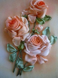Beautiful silk ribbon roses