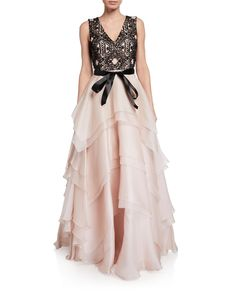 Mikael Aghal Embroidered Bodice Silk Tiered Skirt Gown In Pearl Bodice, Neckline, Tiered Skirts, World Of Fashion, Pearl, Gowns, Silk, Clothes For Women, Formal Dresses
