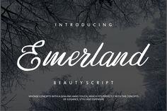 Emerland (Font) by Vunira · Creative Fabrica Handwritten Script Font, Script Logo, Envato Elements, Open Type, Branding Materials, Modern Fonts, Text Effects, Premium Fonts, Quote Posters