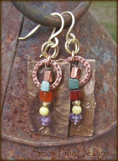 Textured Brass, Copper and Mixed Gem Earrings by SnowPineDesign on Etsy