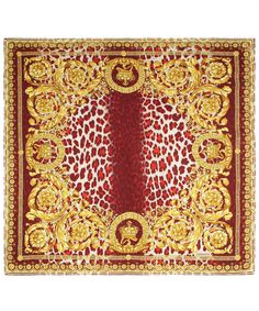 Burgundy and Gold Leopard Brocade Silk Scarf, Verscae. Shop the latest silk scarves from the Versace collection online at Liberty.co.uk