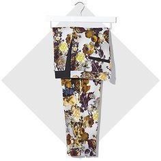 Cream floral print slim cigarette pants