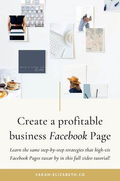Learn how to create a Facebook business page that's highly successful and profitable with this FREE Facebook page course. This step by step tool gives you strategies and Facebook business page tips that high visibility Facebook pages swear by. Setting up a business Facebook page won't be a daunting task with this tool designed to teach you how to make a Facebook page for business along with lots of Facebook page tips. Get it now and get started. | Sarah Elizabeth Facebook Strategist