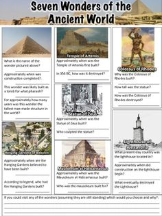 This free Seven Wonders of the Ancient World Worksheet contains 19 questions. Wonders covered include the Great Pyramid of Giza, the Hanging Gardens of Babylon, the Temple of Artemis, the Statue of Zeus, the Mausoleum at Halicarnassus, the Colossus of Rhodes, and the Lighthouse of Alexandria.