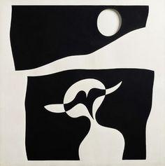 ARP Jean (1886-1966), Homme, moustache, nombril, c.1960,  carton peint, 40,5x40,5x2 cm, Locarno (Suisse), Fondation Marguerite Arp.