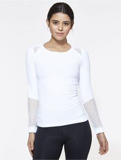 Seamless Long Sleeve in White, $80 | Alala | Luxury Womens Activewear | Style meets Sport
