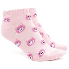 Forever21 Pig Face Graphic Ankle Socks ($1.90) ❤ liked on Polyvore featuring intimates, hosiery, socks, ankle socks, forever 21 socks, patterned hosiery, tennis socks and patterned socks