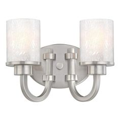 Add a touch of sparkle to your bath with the elegant Ramsgate. | Ramsgate Two-Light Indoor Wall Fixture | Brushed Nickel Finish with Ice Glass