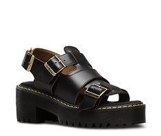 Martens Ariel sandal with leather upper and comfortable chunky heel. Yellow Dr Martens, Dr. Martens, Dr Martens Store, Shoe Boots, Shoe Bag, Women's Boots, Mary Jane Shoes, Running Shoes Nike, Platform Pumps