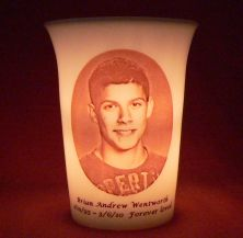 Mourninglights™ custom printed glass memorial and mourning candles