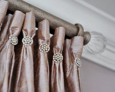 Drapes accented with rhinestones