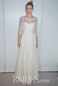 """Margot"" strapless silk taffeta A-line wedding dress with a sweetheart neckline, shown with ""Selena Shrug"" sheer lace three-quarter sleeve jacket with a bateau neckline, Stephanie Allin Couture"