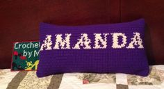 Crochet pillow cushion with name Amanda