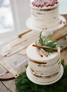 Petite Rustic Wedding Cakes on a Vintage Sled   Jacque Lynn Photography and Michelle Leo Events   Enchanting Woodland Wedding Shoot with Rustic Winter Details