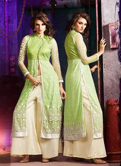 Achkan Style Incredible Salwar Kameez in Green & Net Fabric