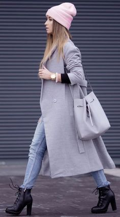 Pink Beanie & Gray Long Coat Winter Street Style...Love it!!!!!!