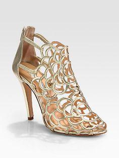So sexy. Oscar de la Renta - Gladia Artistic Metallic Leather Sandals - Saks.com