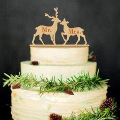 Mr Mrs Wedding Cake Topper (Wood /Deer Moose /Rustic Vintage Christmas)